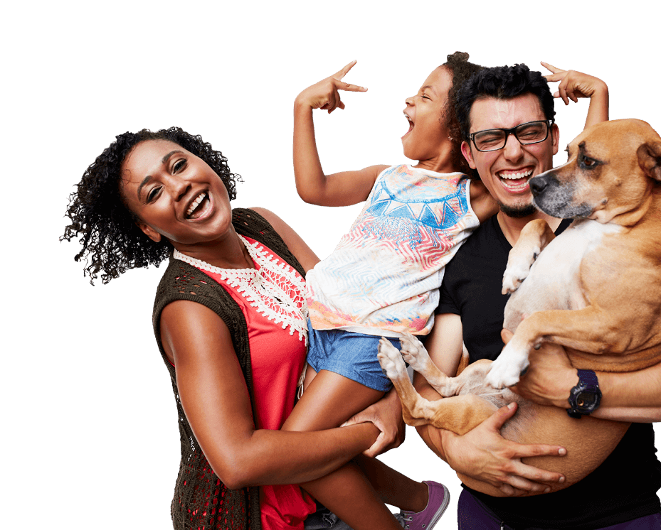 family holding child and dog