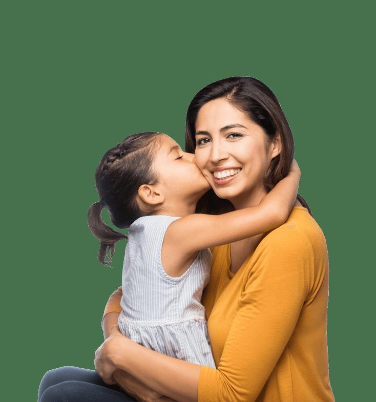 mother holding girl